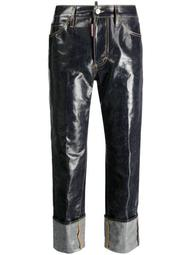 laminated-finish denim jeans
