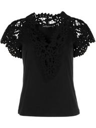 lace embroidery slim-fit T-shirt