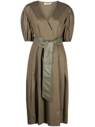 tie-waist V-neck dress