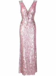 V-neck sequinned gown