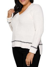 Ribbed Whipstitch-Trim Sweater