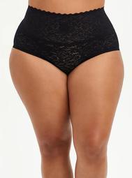 High Waist Brief Panty - 4-Way Stretch Lace Black