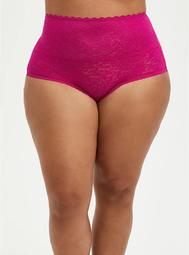 High Waist Brief Panty - 4-Way Stretch Lace Pink