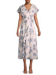 Metallic Floral Ruffle Dress