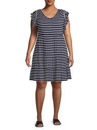 Plus Striped Mini Dress