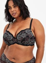 Lightly Lined T-Shirt Bra - Lace Black & Pink