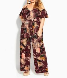 Plus Size Tropic Heat V-Neck Cold Shoulder Sleeve Overlap Leg Drawstring Waist Jumpsuit