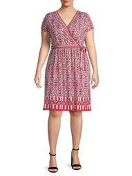 Faux Wrap Short-Sleeve Dress