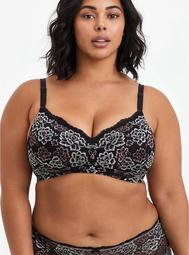 Lightly Lined Wire-Free Bra - Black & Pink Lace with 360° Back Smoothing™