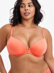 Lightly Lined Front Closure T-Shirt Bra - Coral with 360° Back Smoothing™