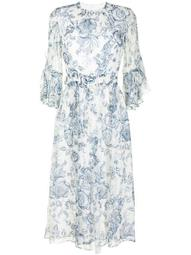 paisley-print voile flared dress