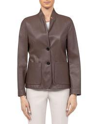 Leather Stand Collar Blazer