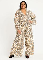 Abstract Wrap Wide Leg Jumpsuit