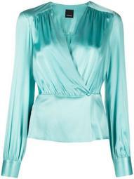 wrap-style V-neck blouse