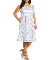 Plus Size Plaid Smocked Waist Midi Dress