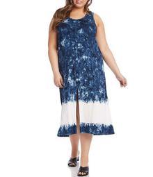 Plus Size Midi Tie-Dye Sleeveless Dress