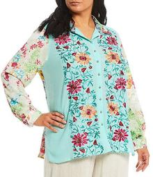 Plus Size Mixed Media Floral Embroidered Chiffon Printed Back Tunic