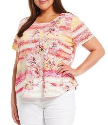Plus Size Floral Stripe Print Embellished Front Detail Jewel Neck Short Sleeve Top