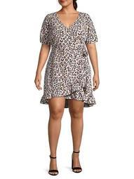 Plus Leopard Wrap Dress