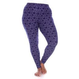 Women's Plus Size Super Soft Midi-Rise Printed Leggings - White Mark