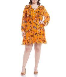 Plus Size Barry Lace Up Long Sleeve Ruffle Dress