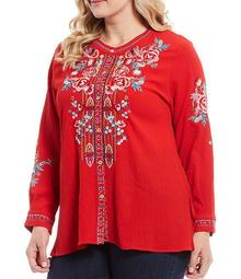 Plus Size Floral Embroidered Crew Neck Mixed Back Panel Long Sleeve Tunic