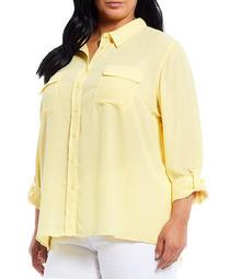 Plus Size Olivia Long Sleeve Roll-Tab Button-Front Utility Blouse