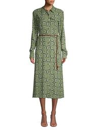 Mandalyn Belted Abstract Shirtdress