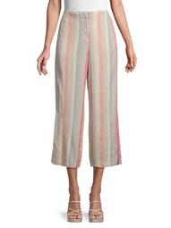 Sweetclover Linen-Blend Cropped Pants