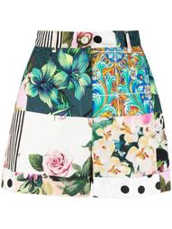 patchwork print high-waisted shorts
