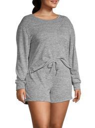 Plus 2-Piece Heathered T-Shirt & Shorts Set