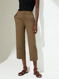 Slim Wide-Leg Honeycomb Cropped Pant