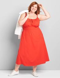 Shirred-Waist Midi Dress