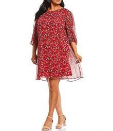 Plus Size 3/4 Sleeve Floral Trapeze Dress