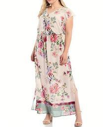 Plus Size Floral Border Maxi Dress