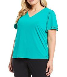 Plus Size Matte Jersey V-Neck Double Tiered Short Sleeve Top