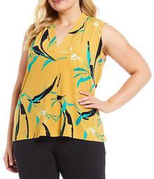 Plus Size Ochre Floral Matte Jersey V-Neck Shoulder Pleat Sleeveless Top