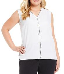 Plus Size V-Neck Contrast Trim Button Front Sleeveless Top