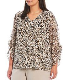 Plus Size Animal Print Matte Jersey V-Neck 3/4 Chiffon Ruffle Sleeve Top