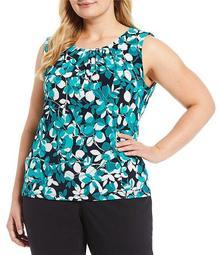 Plus Size Jungle Print Matte Jersey Pleat Neck Top