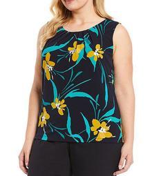 Plus Size Navy Multi Floral Print Matte Jersey Pleat Neck Top