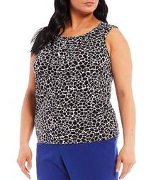 Plus Size Giraffe Print Matte Jersey Pleat Neck Sleeveless Top