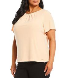 Plus Size Solid Matte Jersey Pleat Neck Short Sleeve Top