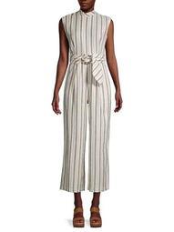 Striped Linen-Blend Cropped Jumpsuit