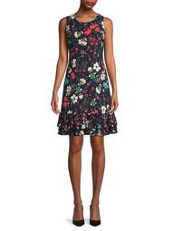 Floral Ruffle-Hem Dress