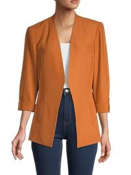 Stretch Woven Tab-Sleeved Blazer