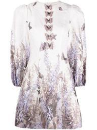 butterfly-print detail dress