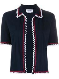 zigzag trim short-sleeve cardigan