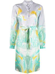 belted graphic-print shirtdress
