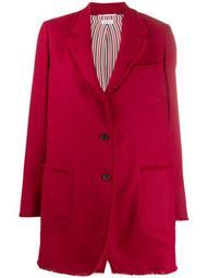 frayed narrow shoulder sack jacket